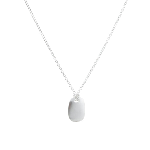 Tashi - Solid Sterling Silver Tab Pendant Necklace