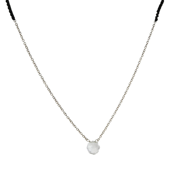 Danielle Welmond - White Topaz Necklace With Crocheted Silk and Sterling Silver Chain