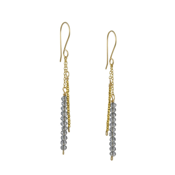 Debbie Fisher - Stick Earrings With Grey Quartz and Faceted Gold Vermeil Beads