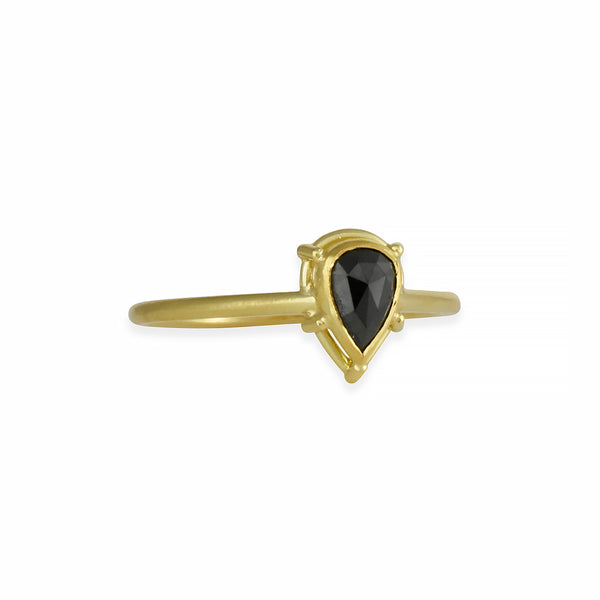 Tura Sugden - Pear-Shaped Black Diamond Solitaire in 18K Gold