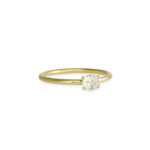 Tura Sugden - Antique Oval Solitaire Diamond Ring in 18K Gold