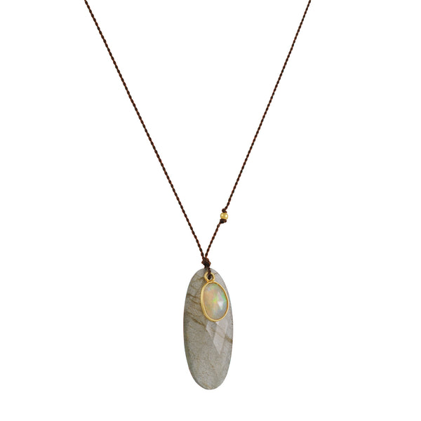 Margaret Solow - Labradorite Slice and Opal Double Pendant Necklace