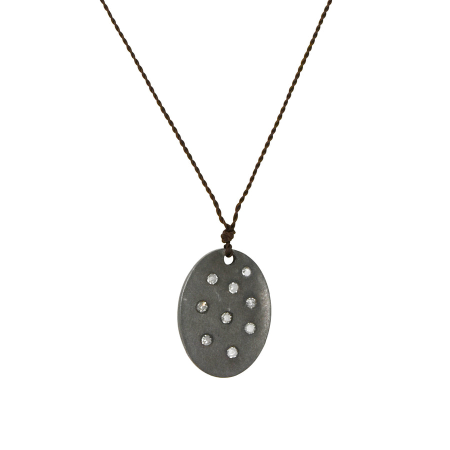Margaret Solow - Disc With Nine Diamonds Pendant Necklace