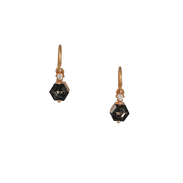 Suzanne Kalan Hexagon Black night Quartz Drop Earrings