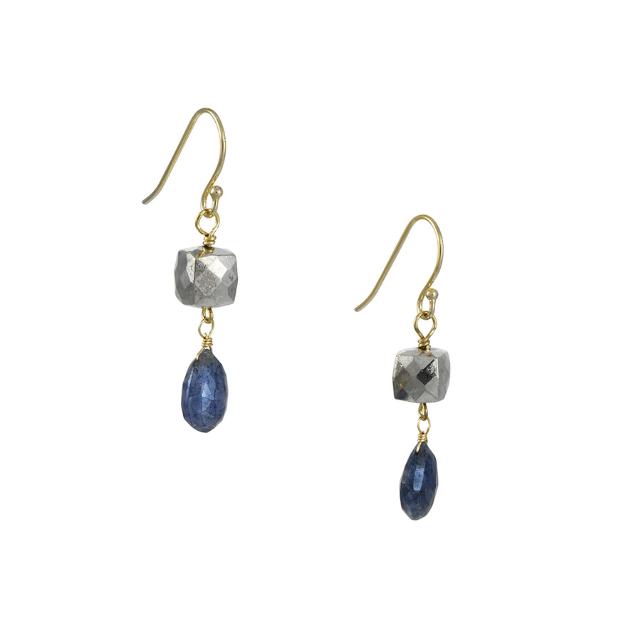 A. V. Max - Silverite and Blue Gunmetal Double Drop Earrings
