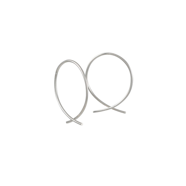 8.6.4 - Medium Fish X Hoops in Sterling Silver