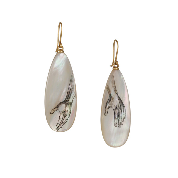 Hannah Blount - Mother of Pearl Hand Scrimshaw Earrings
