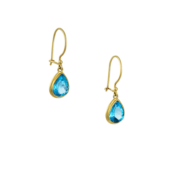 Steven Battelle - Faceted Blue Topaz Drop Earrings