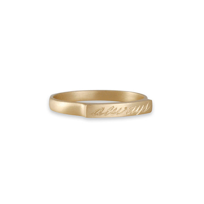 "Carla Caruso - ""Always"" Engraved Bridge Ring"