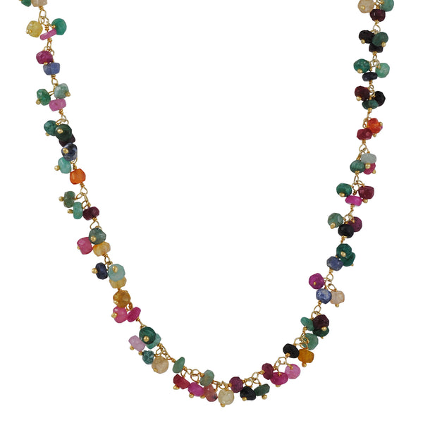 CATHERINE WEITZMAN - Long Cluster Dangle Necklace with Multi-Colored Sapphire, 32""