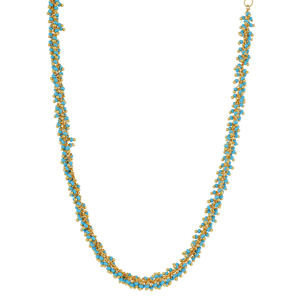 CATHERINE WEITZMAN - Long Fringe Necklace in Turquoise