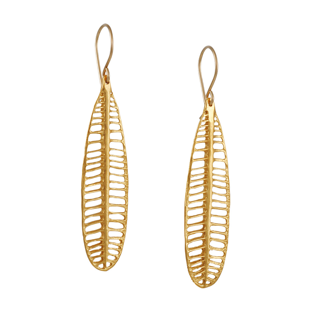 Catherine Weitzman - Long Plumeria Leaf Earrings