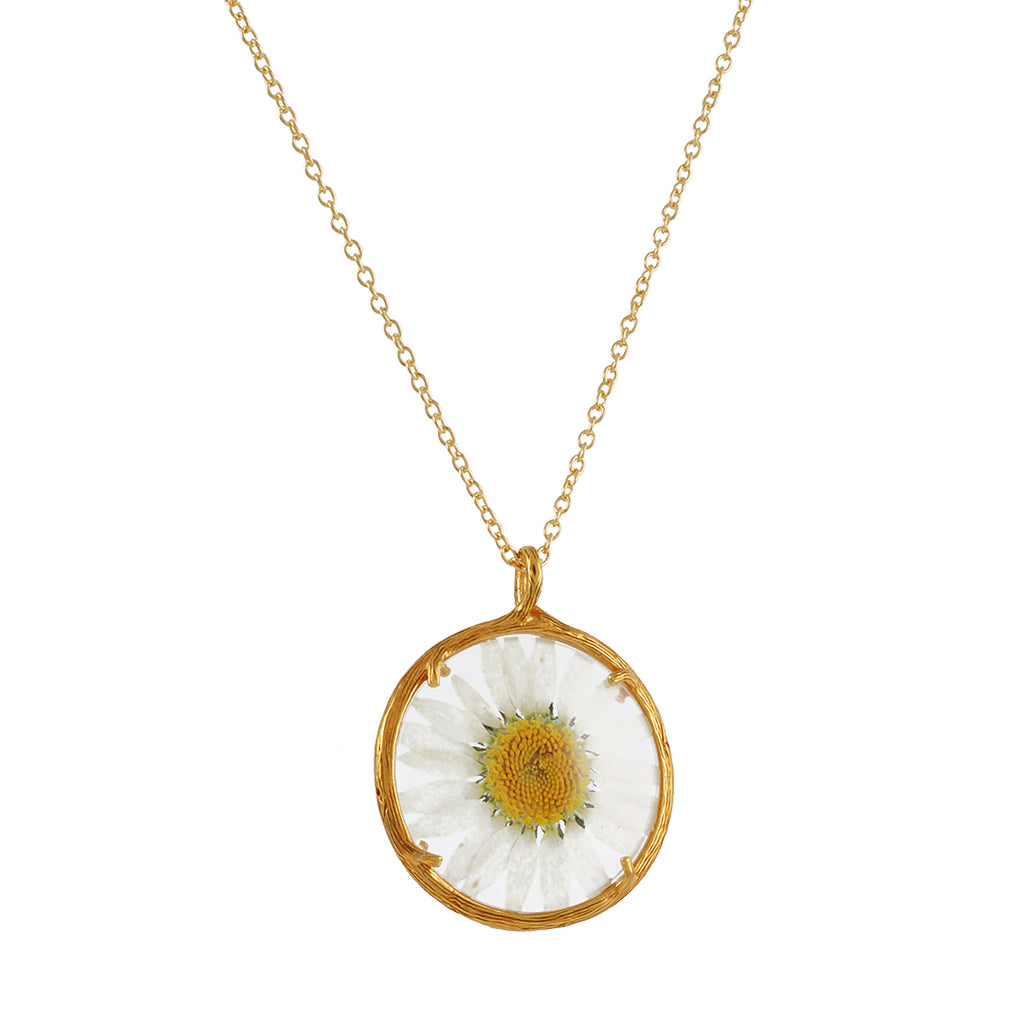 "CATHERINE WEITZMAN - Pressed Daisy Necklace in Gold Vermeil, 20"" Chain"