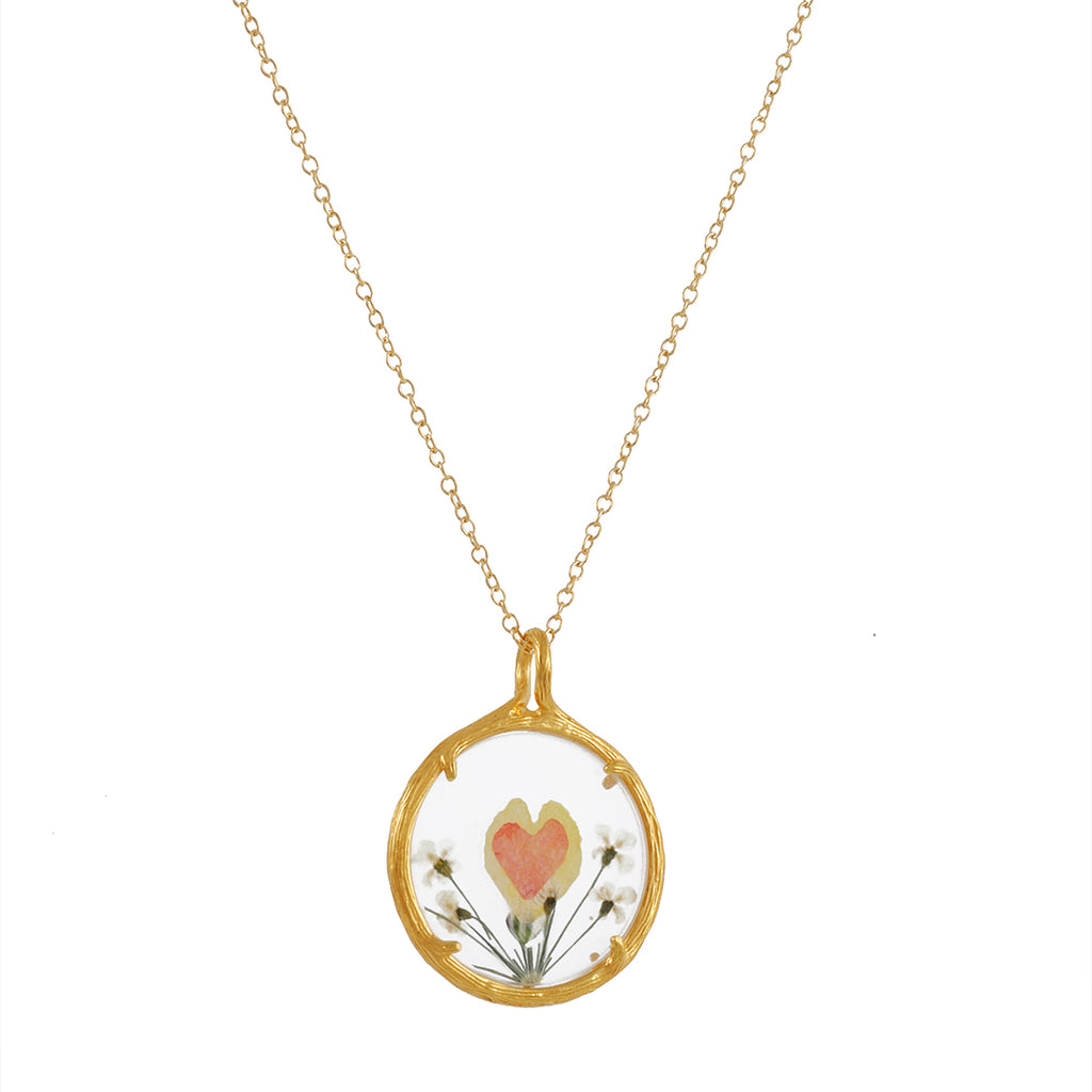 "CATHERINE WEITZMAN - Pressed Flowers Necklace with Orange Heart in Gold Vermeil, 18"" Chain"