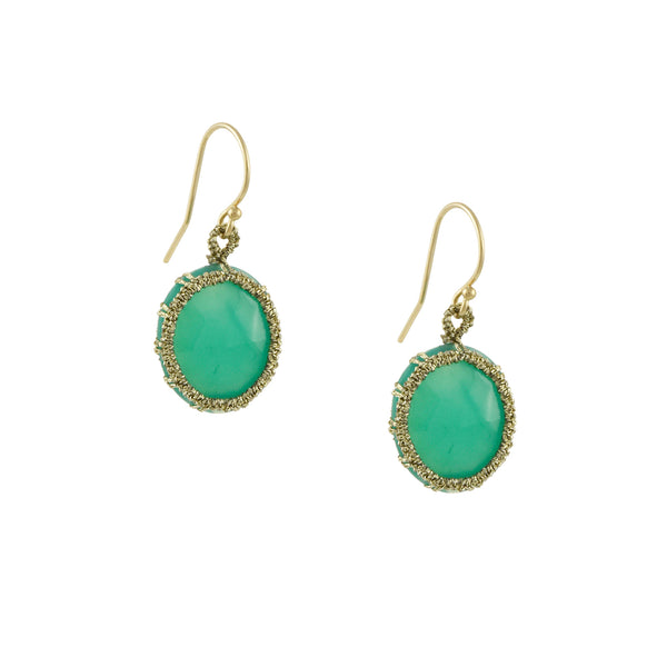 Danielle Welmond - Hand-Crocheted Cage Drop Earrings With Chrysoprase Ovals