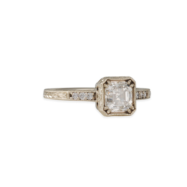 Lori McLean - Engraved Square Setting with Diamond Foundry Asscher Cut