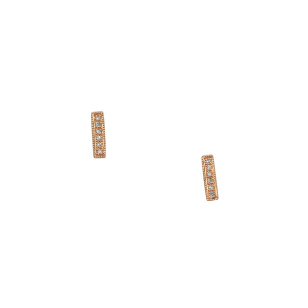CP Collection - Diamond Stick Earrings in 14K Rose Gold
