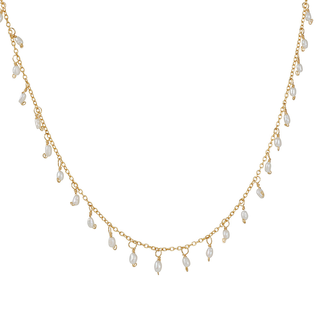 CHRISTINA STANKARD - Tiny Cultured Rice Pearl Fringe Necklace in Gold Fill