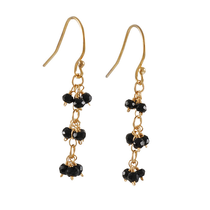 CHRISTINA STANKARD - Triple Cluster Spinel Earrings in Black