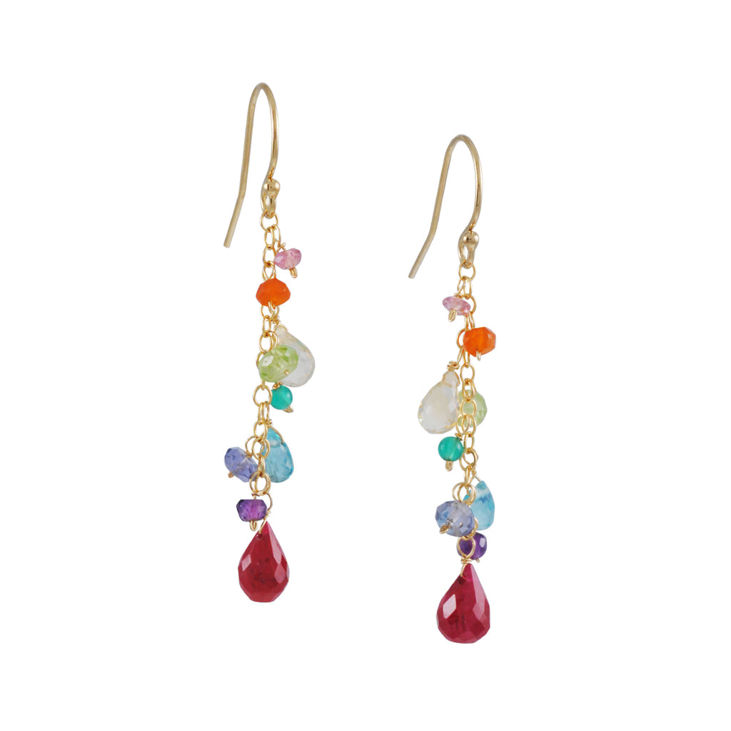 CHRISTINA STANKARD - Long Multi Gem Earring