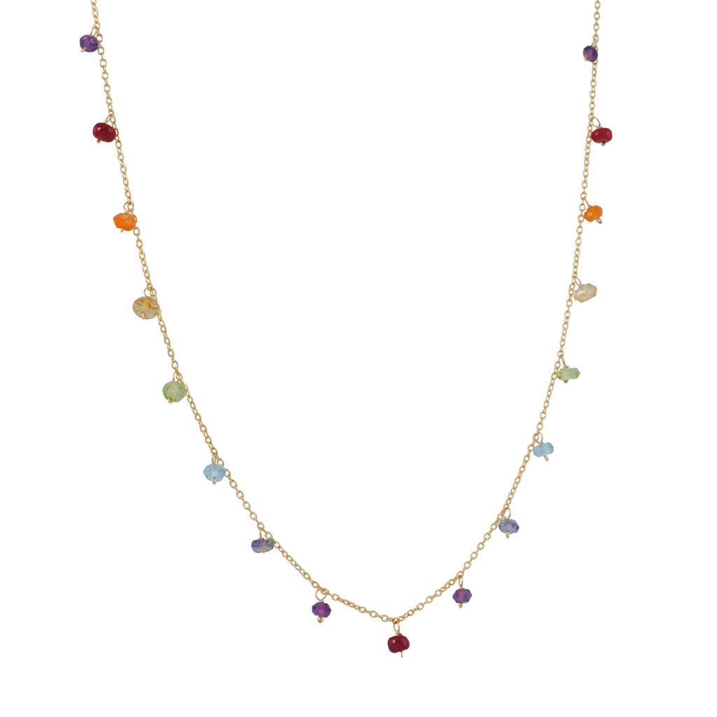 CHRISTINA STANKARD - Multi Gem Rainbow Necklace in Gold Fill, 18""