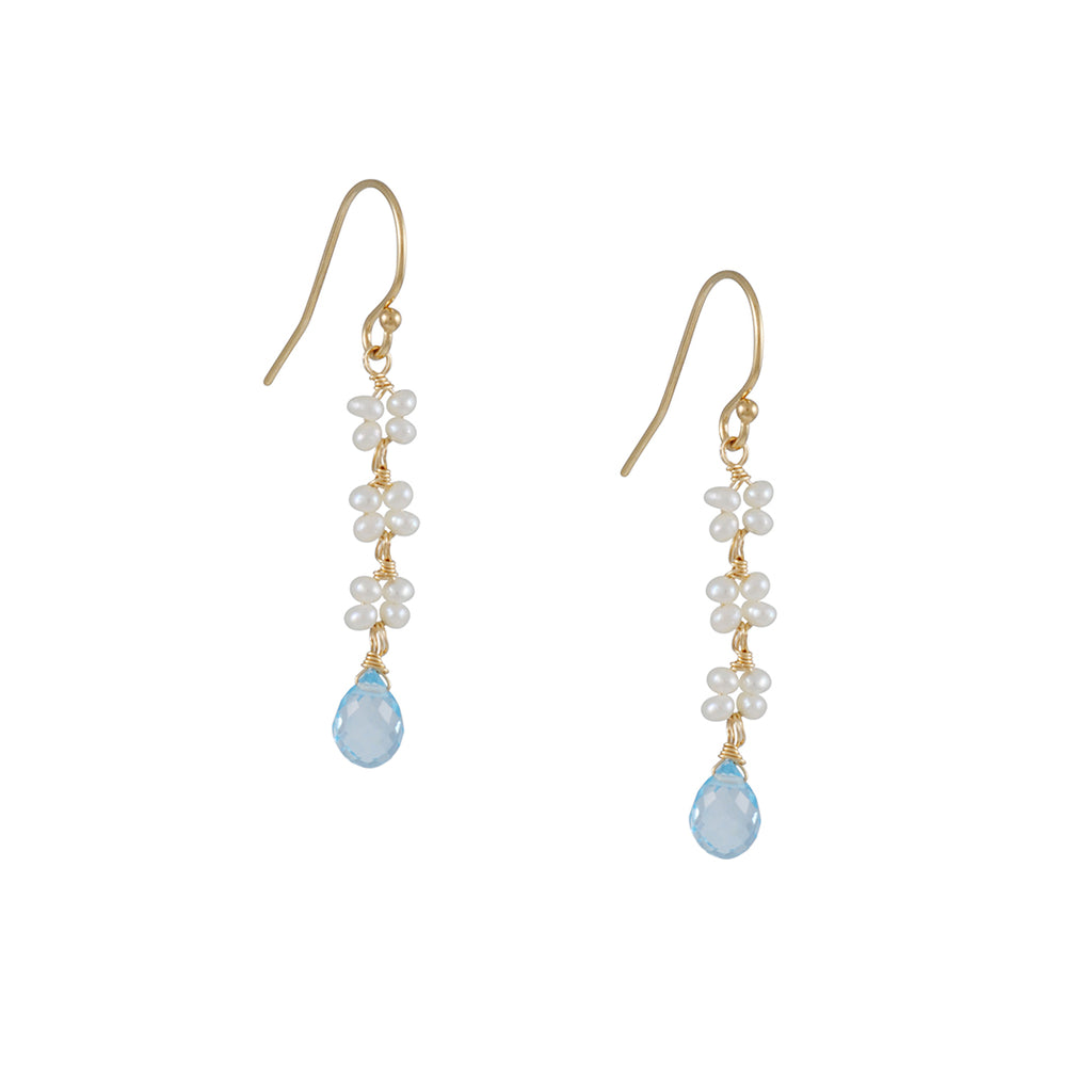Christina Stankard - Pearl and Topaz Blossom Earrings