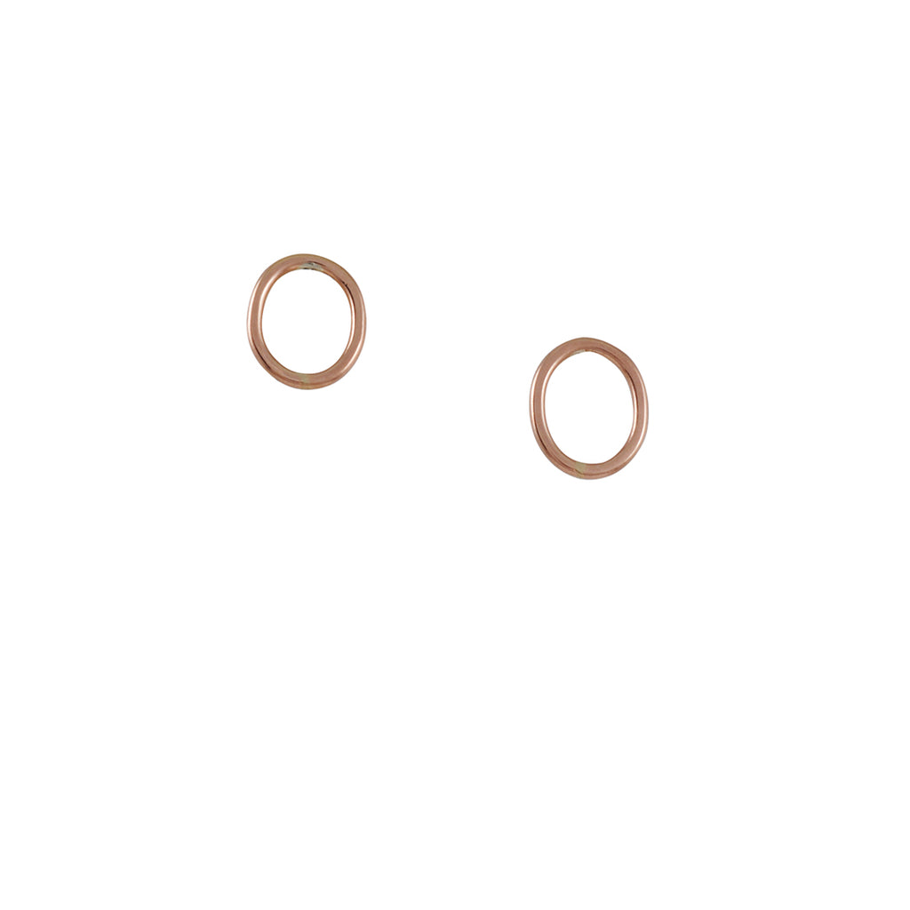 COLLEEN MAUER - Small Oval Stud Earrings in Rose Gold Fill