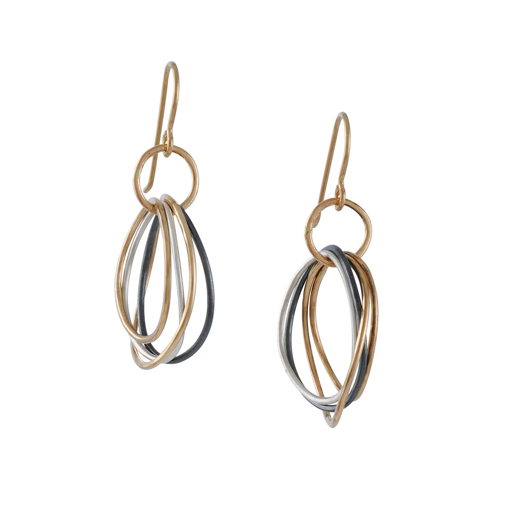 COLLEEN MAUER - Small Tri-Toned Hoop Drop Earrings