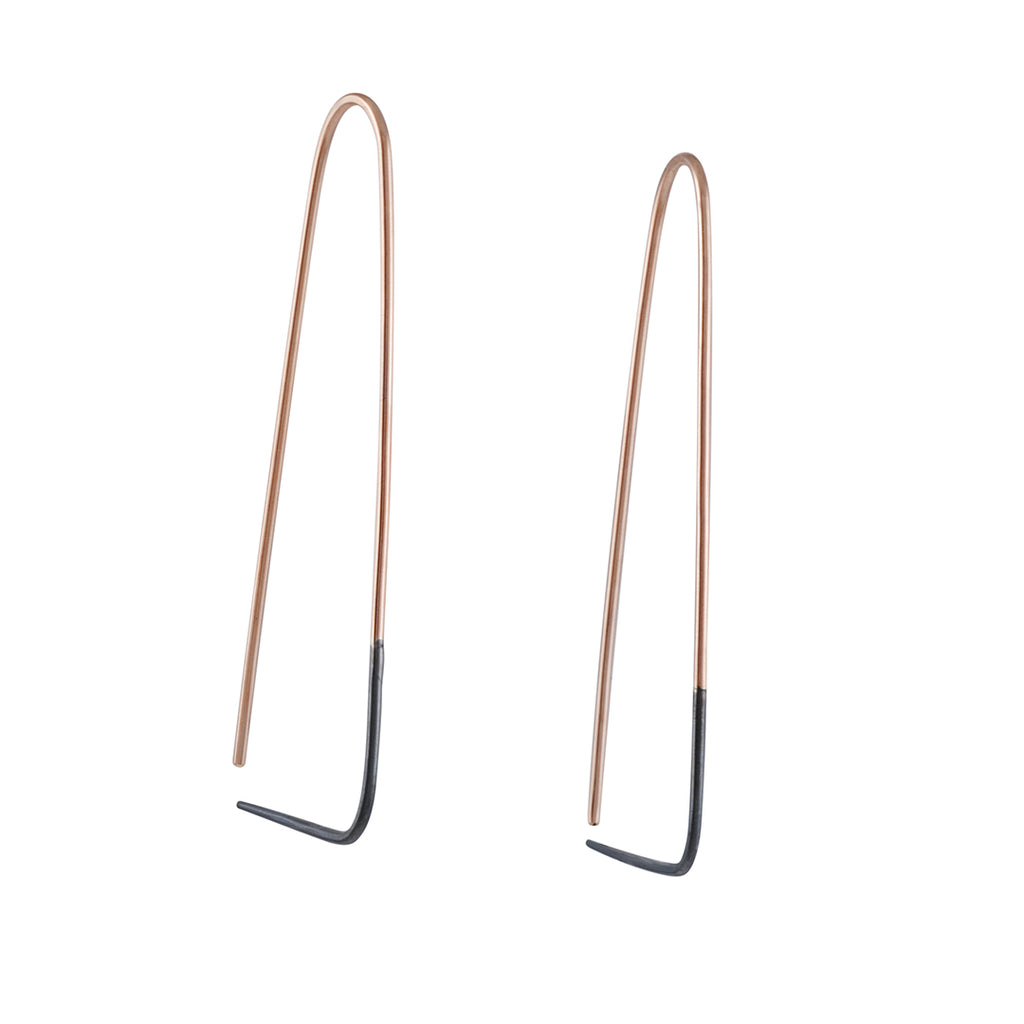 COLLEEN MAUER - Two-Toned Triangle Hoop Earrings, Yellow Gold Fill and Blackened Sterling