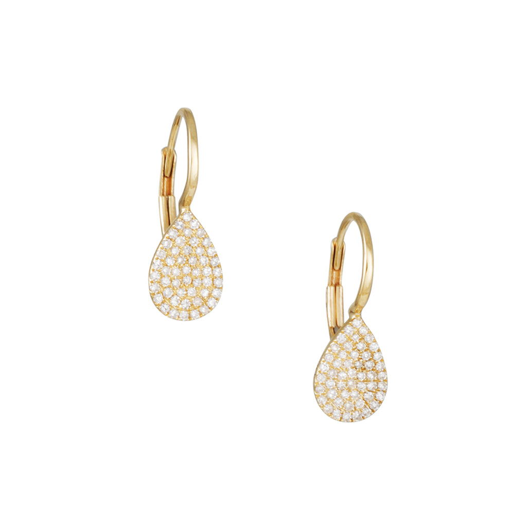 CP COLLECTION - Diamond Teardrop Leverback Earrings in Yellow Gold