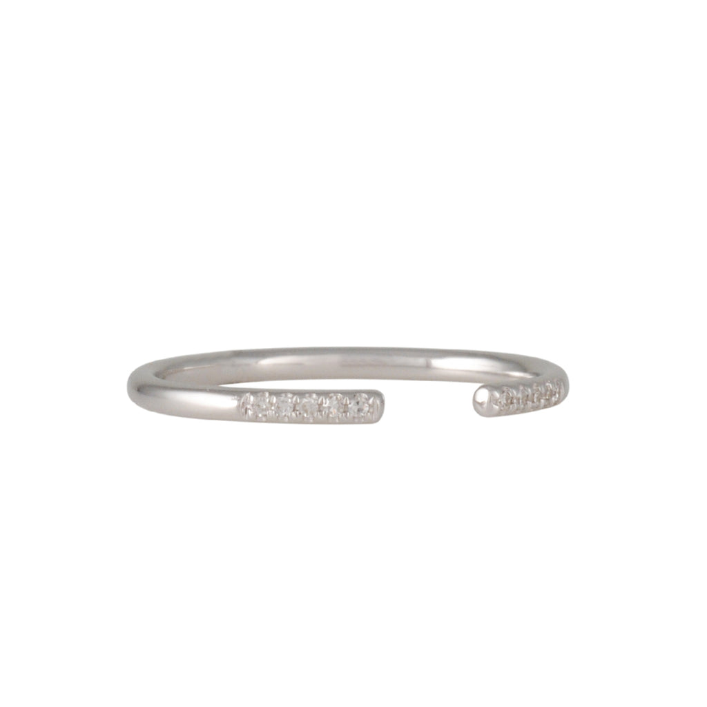 CP COLLECTION - Open Cuff Ring with White Diamonds in White Gold, Size 5