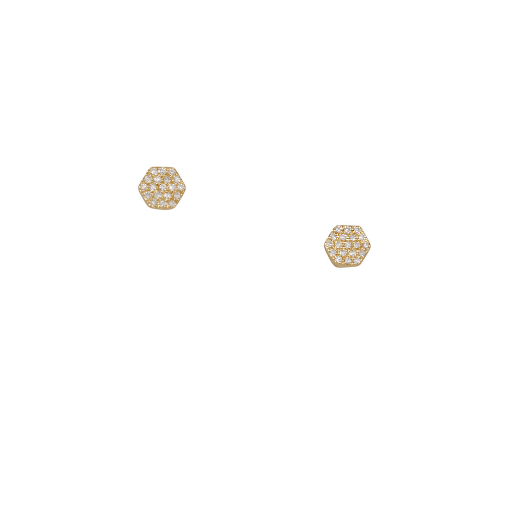 CP Collection - Hexagon Pave Diamond Studs