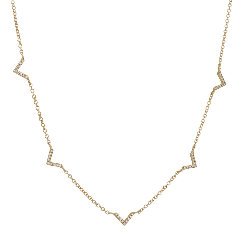 "CP COLLECTIONS - Pave Diamond ""V"" Necklace in Yellow Gold"