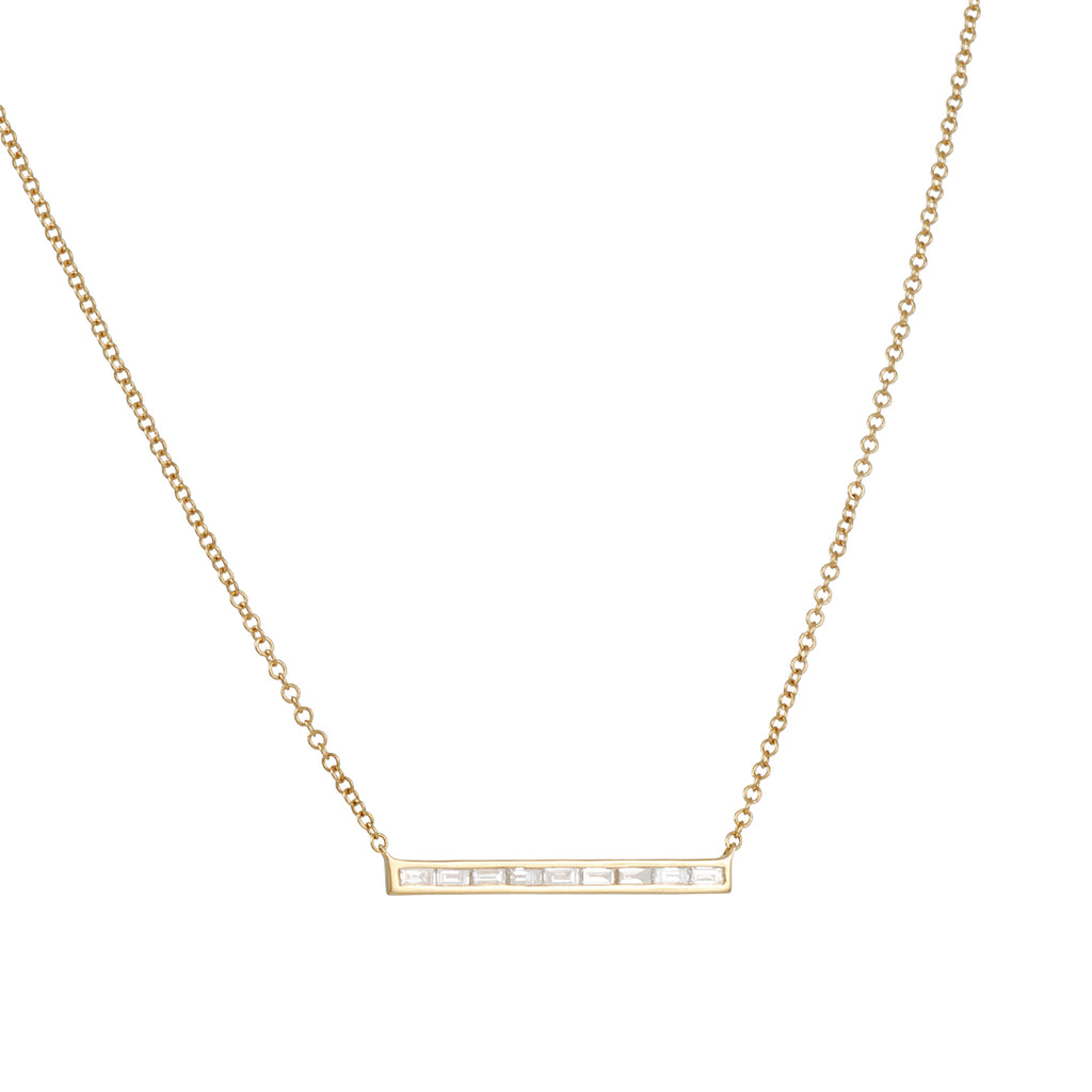 CP COLLECTIONS - 9 Baguette Diamond Necklace in Yellow Gold