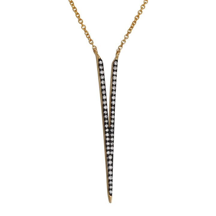 CP COLLECTION - Deep V Pave Necklace in Yellow Gold and Rhodium