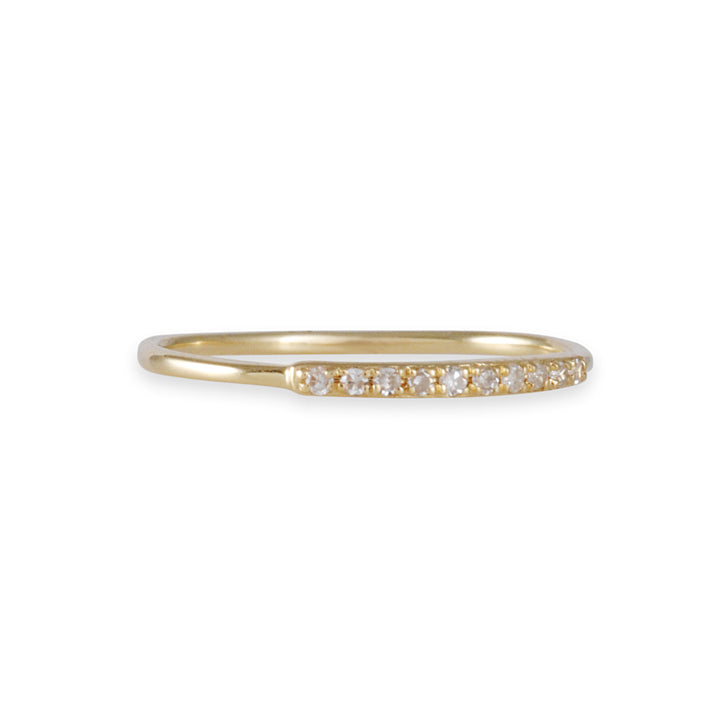 CP COLLECTION - Diamond Bar Ring in 14K Yellow Gold, Size 7