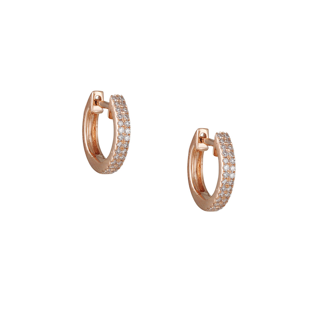 CP COLLECTION - Micropave Huggie Hoops in Rose Gold