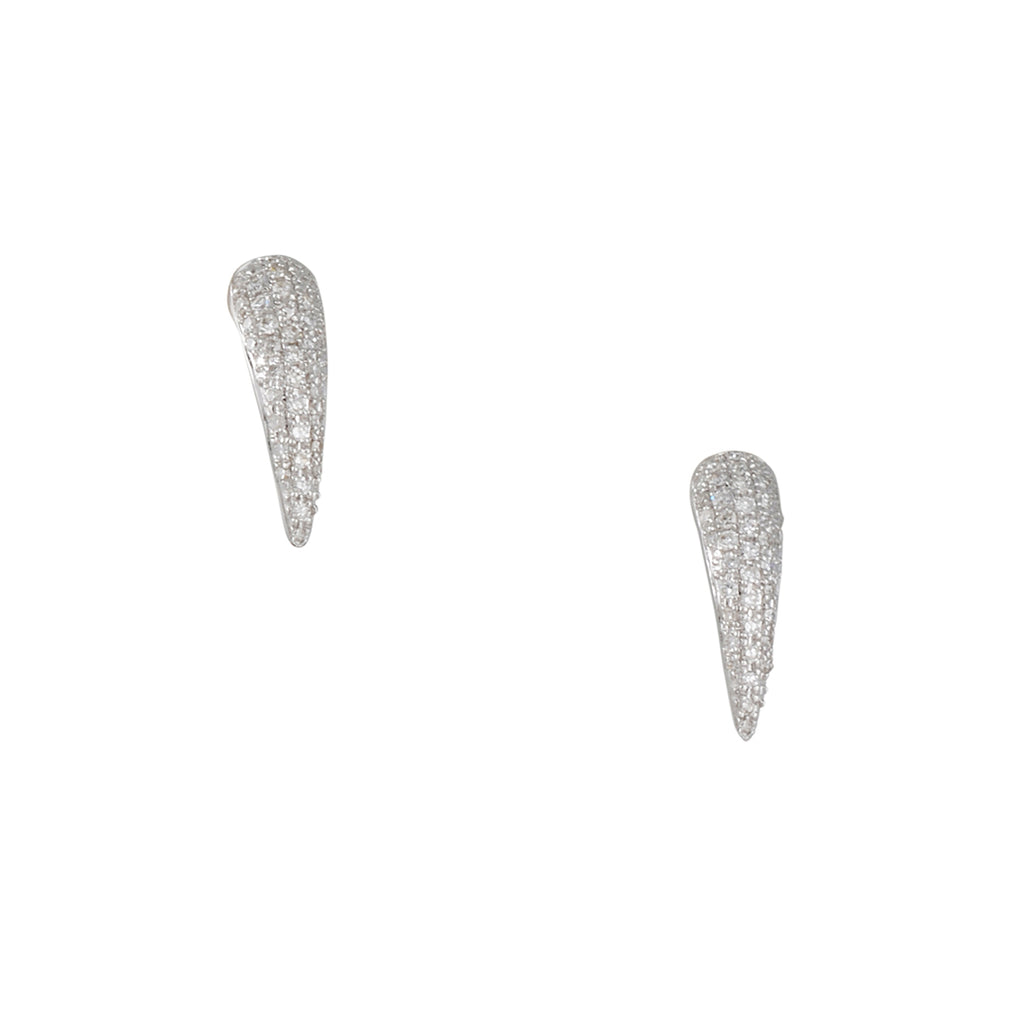 CP COLLECTION - Pave Spike Stud Earrings in White Gold