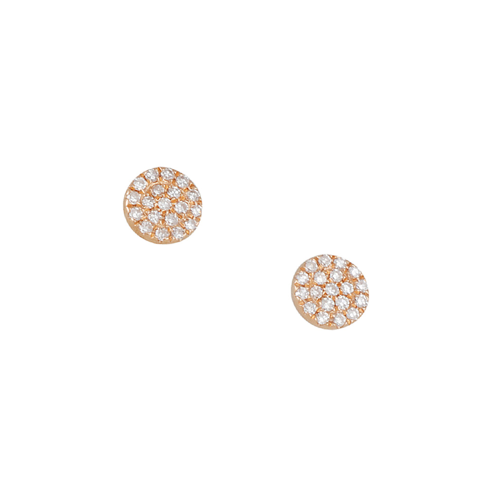 CP COLLECTION - Tiny Diamond Disc Post Earrings in Rose Gold