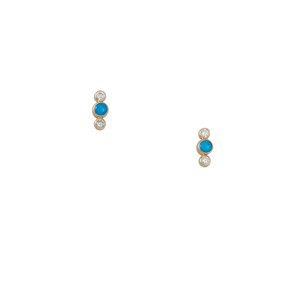 Zoe Chicco - Turquoise and Diamond Bar Studs