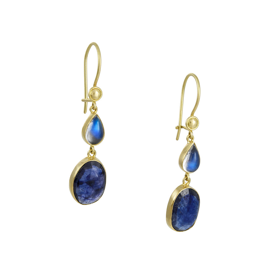 Steven Battelle - Blue Sapphire and Moonstone Drop Earrings