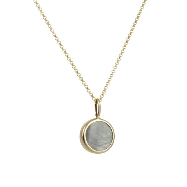 Halcyon - Mini Medallion Necklace With Grey Mother of Pearl