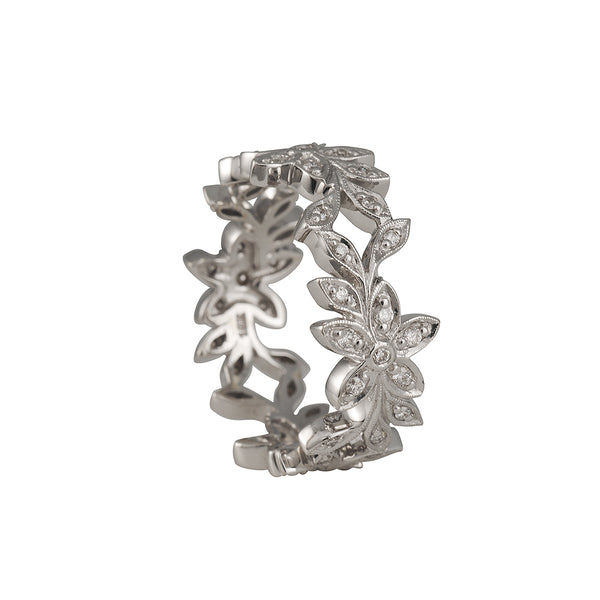 SALE - Wide Floral Eternity Band in 18K White Gold