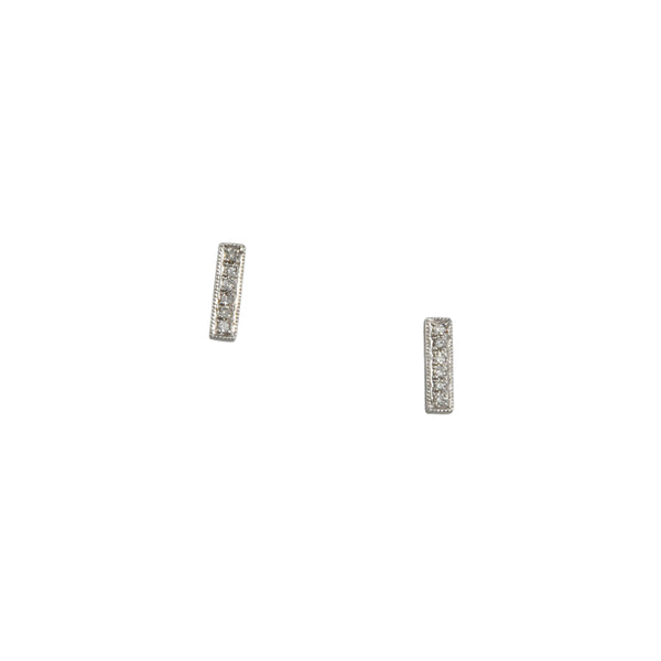 CP Collection - Pave Diamond Bar Studs in 14K White Gold
