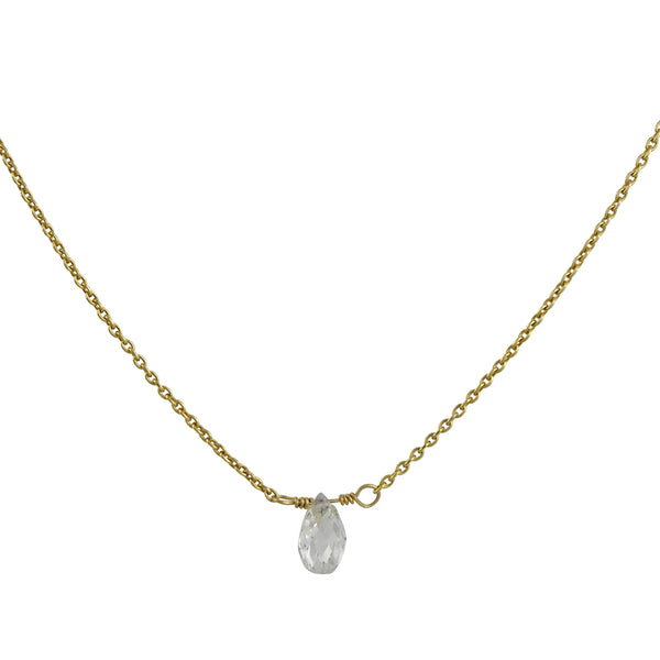 Clay Pot Classics - Briolette Diamond Drop Necklace in Yellow Gold