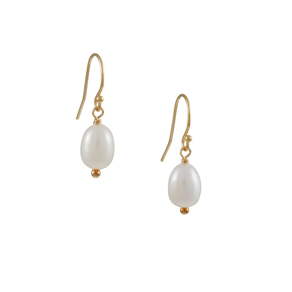 Christina Stankard - White Pearl Drop Earrings