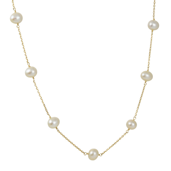 Cp Collection - White Pearl Station Necklace
