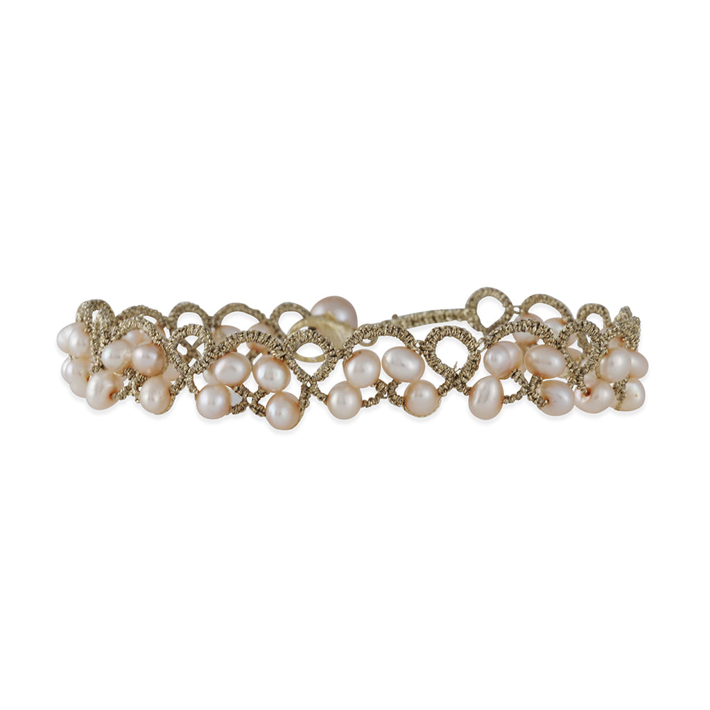 DANIELLE WELMOND - Crocheted Gold Fill Bracelet with Cultured Pearls