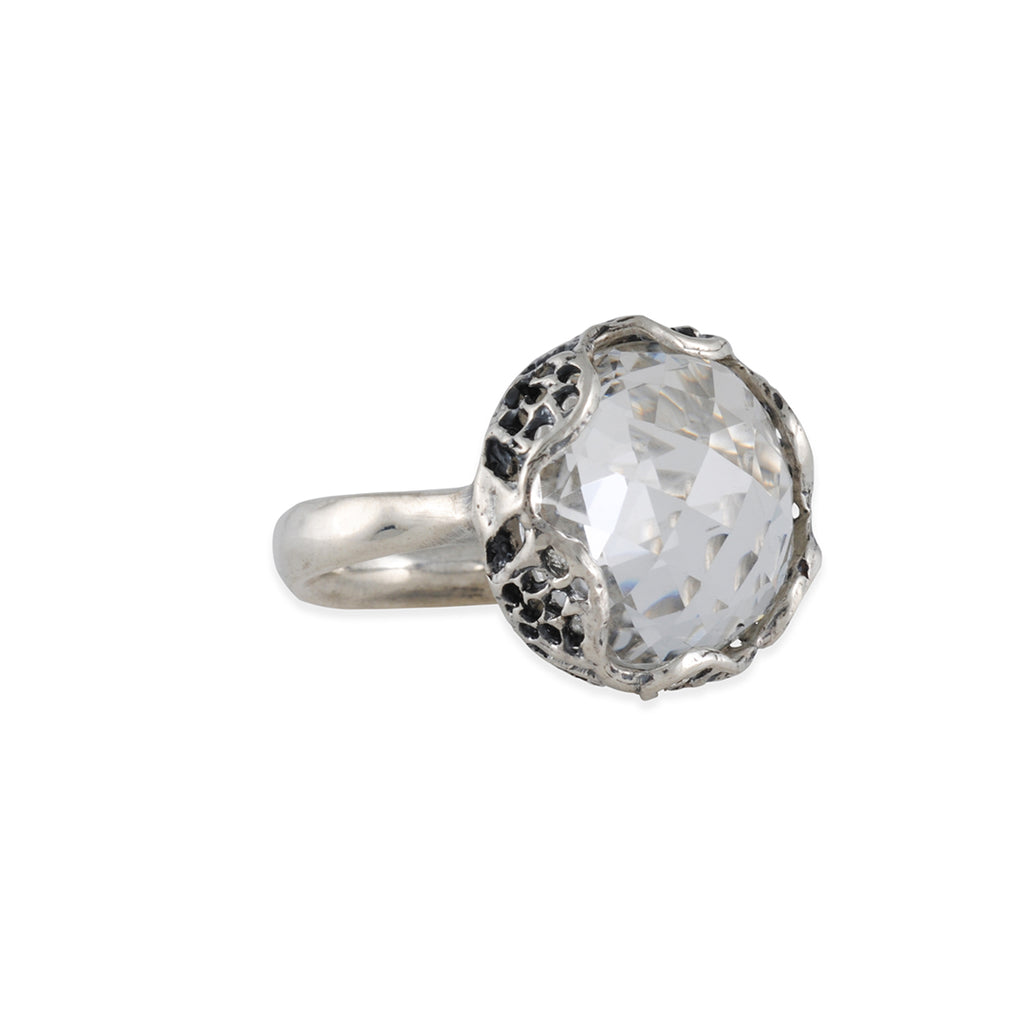 DANIELLE WELMOND - Faceted Crystal Sterling Silver Ring, Size 6.5