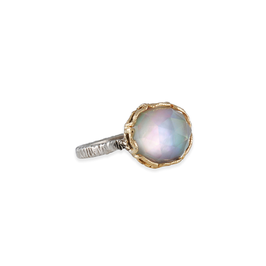 DANIELLE WELMOND - Mixed Metal Framed Mother of Pearl Doublet Ring, Size 6.5